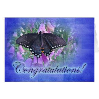 お祝い- Spicebushのアゲハチョウの蝶 カード