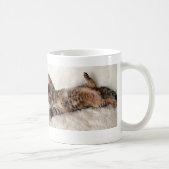 お腹なでなでして!ベンガル子猫 マグカップ コーヒーマグカップ