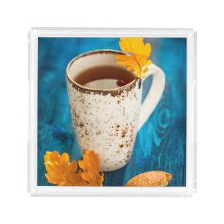 お茶および青い木の紅葉 アクリルトレー