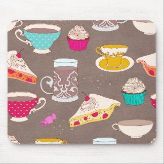 お茶会のデザートのプリントのカップケーキパイ落書き マウスパッド