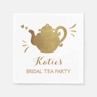お茶会のブライダルシャワーの紙ナプキンのブライダルの茶 スタンダードカクテルナプキン