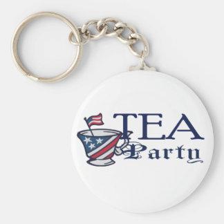 お茶会の愛国心が強い旗 キーホルダー