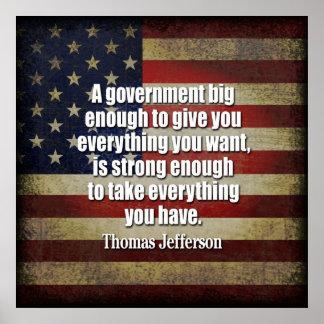 お茶会-ジェファーソン: 大きい政府の用心して下さい ポスター