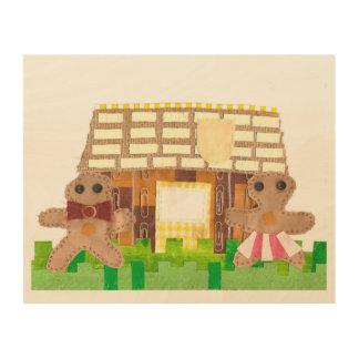 お菓子の家のカップルの木ポスター ウッドウォールアート