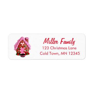 お菓子の家のキャンディ・ケーンのストライプなクリスマス 返信用宛名ラベル