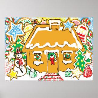 お菓子の家の曇らされたクッキーのクリスマス場面 ポスター