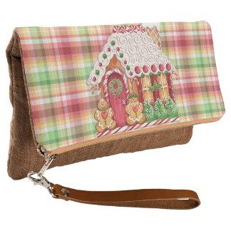 お菓子の家の格子縞のFoldoverのクラッチの財布 クラッチバッグ