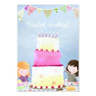 お誕生日ケーキのおもしろい-パーティーの招待 カード