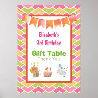 お誕生日ケーキのパーティーのライオンおよびヒツジのギフトのテーブル ポスター