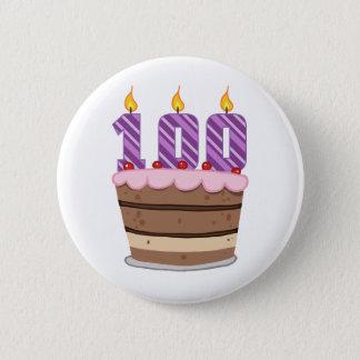 お誕生日ケーキの年齢100 5.7CM 丸型バッジ