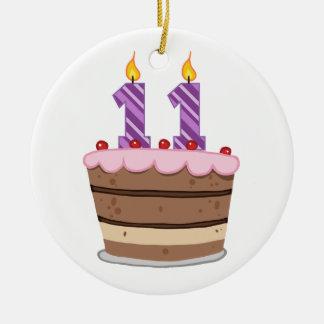 お誕生日ケーキの年齢11 陶器製丸型オーナメント