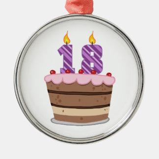 お誕生日ケーキの年齢18 メタルオーナメント