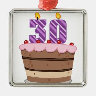 お誕生日ケーキの年齢30 メタルオーナメント