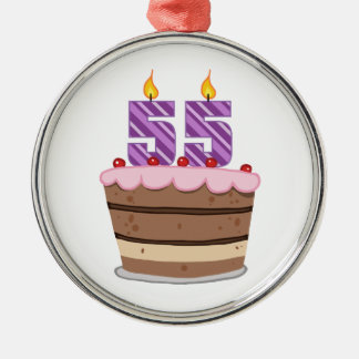 お誕生日ケーキの年齢55 メタルオーナメント