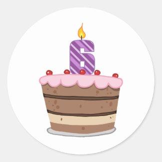 お誕生日ケーキの年齢6 ラウンドシール