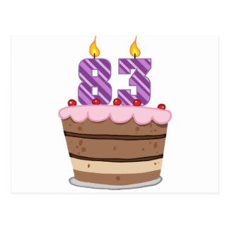 お誕生日ケーキの年齢83 ポストカード