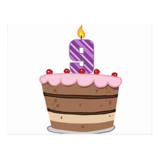 お誕生日ケーキの年齢9 ポストカード