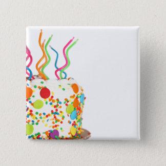 お誕生日ケーキの磁石 5.1CM 正方形バッジ
