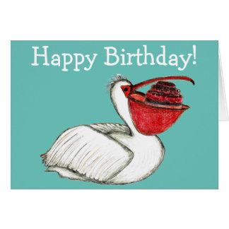 お誕生日ケーキを持つペリカン カード
