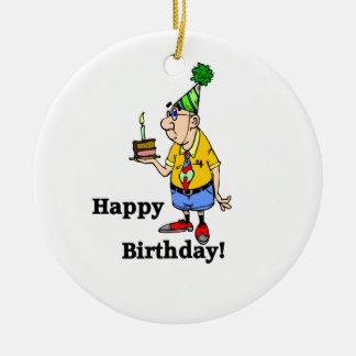 お誕生日ケーキ-人 セラミックオーナメント