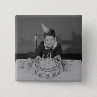 お誕生日ケーキ 5.1CM 正方形バッジ
