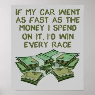 お金おもしろいなポスター印として速く車のモータースポーツ ポスター