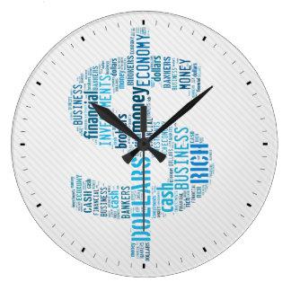お金によってタイプされる文字の記号 ビジネスギフト ラージ壁時計