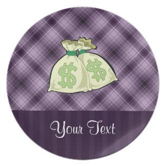お金のバッグ; 紫色 プレート