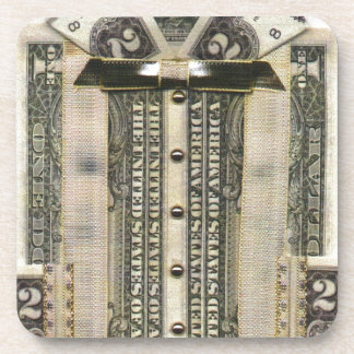 お金のワイシャツの正方形のコースター コースター