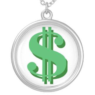 お金の印 シルバープレートネックレス