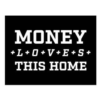 お金は幸せなこの家の豊富の断言を愛します ポストカード