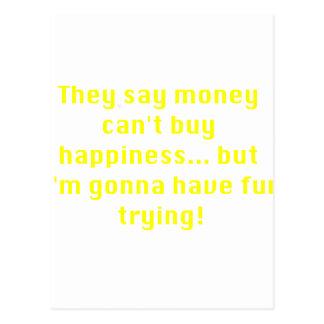 お金は黄色緑のピンクを試みる幸福を買うことができません ポストカード