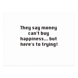 お金は黒い紫系統を試みる幸福を買うことができません ポストカード
