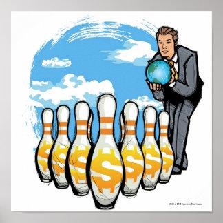 お金ピンの方のボーリングをしているビジネスマン地球 ポスター
