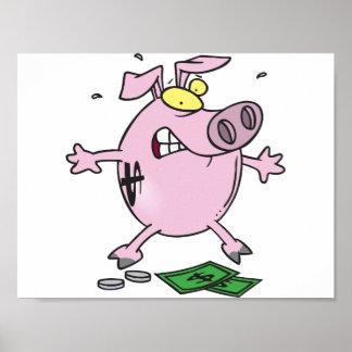 お金ポスターが付いているピンクの貯金箱 ポスター