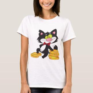 お金レディースTシャツを持つ猫 Tシャツ