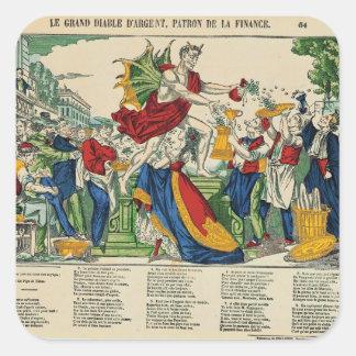 お金1860年の鬼の風刺漫画 スクエアシール