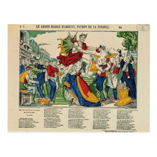 お金1860年の鬼の風刺漫画 ポストカード