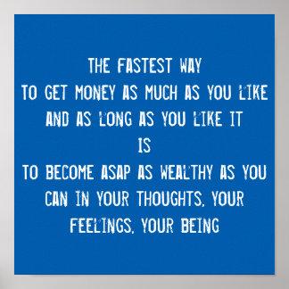 お金、LOAの富の引用文、感動的な刺激 ポスター