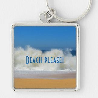 お願いしますビーチ! 衝突の波とのビーチ場面 キーホルダー