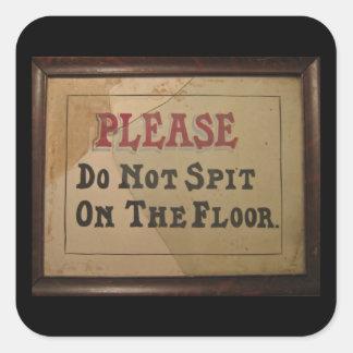 お願いします||ない|つば|床 正方形シールステッカー