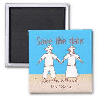 かかしのカップルは日付の結婚式の磁石を救います マグネット