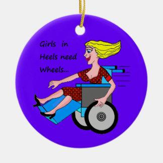 かかとの車椅子の女の子 セラミックオーナメント