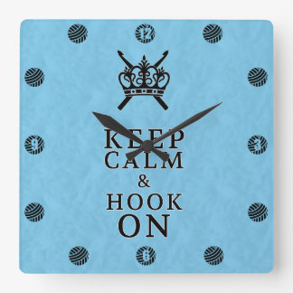 かぎ針編みの技術部屋の穏やかなホックを保って下さい スクエア壁時計