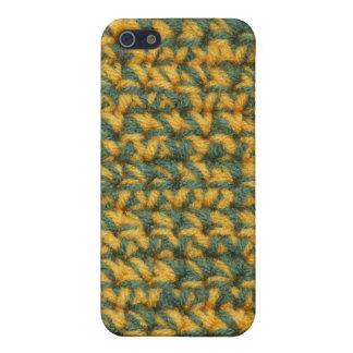 かぎ針編みの緑および金ゴールド iPhone 5 COVER