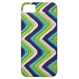 かぎ針編みの青いシェブロンの箱 iPhone SE/5/5s ケース