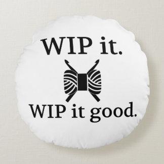 かぎ針編み- WIPそれよい技術のユーモア ラウンドクッション