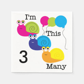 かたつむり私はこの多くの第3誕生日の紙ナプキンです スタンダードカクテルナプキン