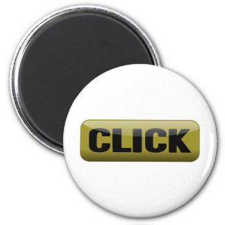 かちりと言う音、光沢があるボタン-マスタードおよび黒 マグネット