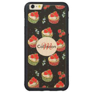 かわいいいちごおよびクリームはおいしいコップのケーキを越えました CarvedメープルiPhone 6 PLUSバンパーケース